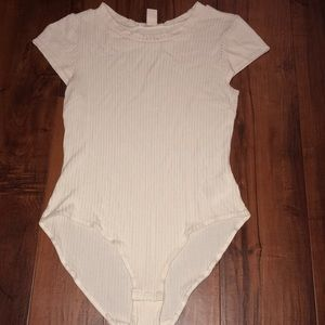 white ribbed bodysuit